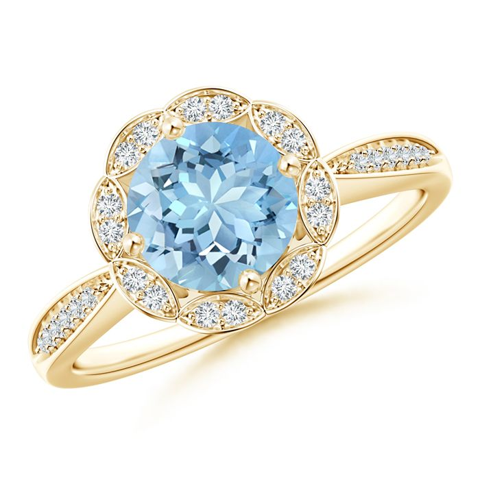 Angara Cushion Aquamarine and Diamond Halo Ring With Swirl Motifs White Gold tLSUU