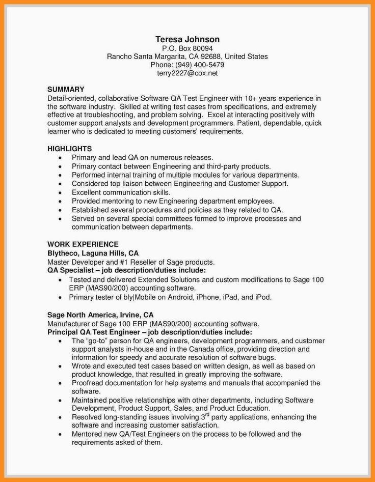Web Services Testing Resume Fresh Qa Sample Resume Cv Quality Assurance Oracle Database Manual Sample Resume Resume Examples Resume