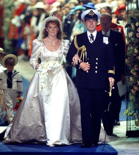 Sarah Ferguson and Prince Andrew, Duke of York marry in Westminster Abbey in 1986. Prince Andrew is the second son of Queen Elizabeth II. They divorced in 1996 after having two daughters, Princesses Beatrice and Eugenie.