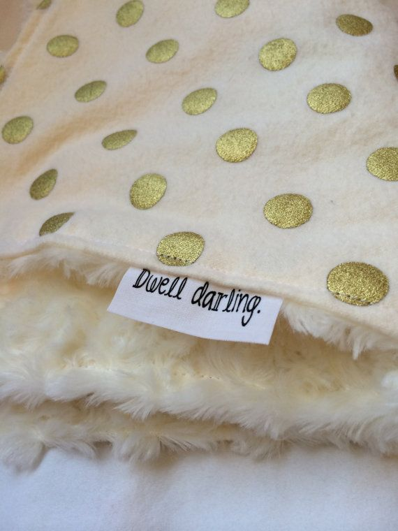 Gold Baby lovey Blanket, Classy, Modern, Gold Nursery Gold Polka Dot Lovey, Security Blanket, Gold Polka-Dots Cream Flannel, IVORY minky on Etsy, $14.00