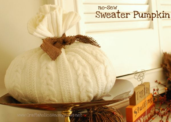 sweater pumpkinNo Sewing, Pumpkin Crafts, Crafts Ideas, Decor Ideas, Fall Decor, Diy Crafts, Crafts Tutorials, Sewing Sweaters, Sweaters Pumpkin