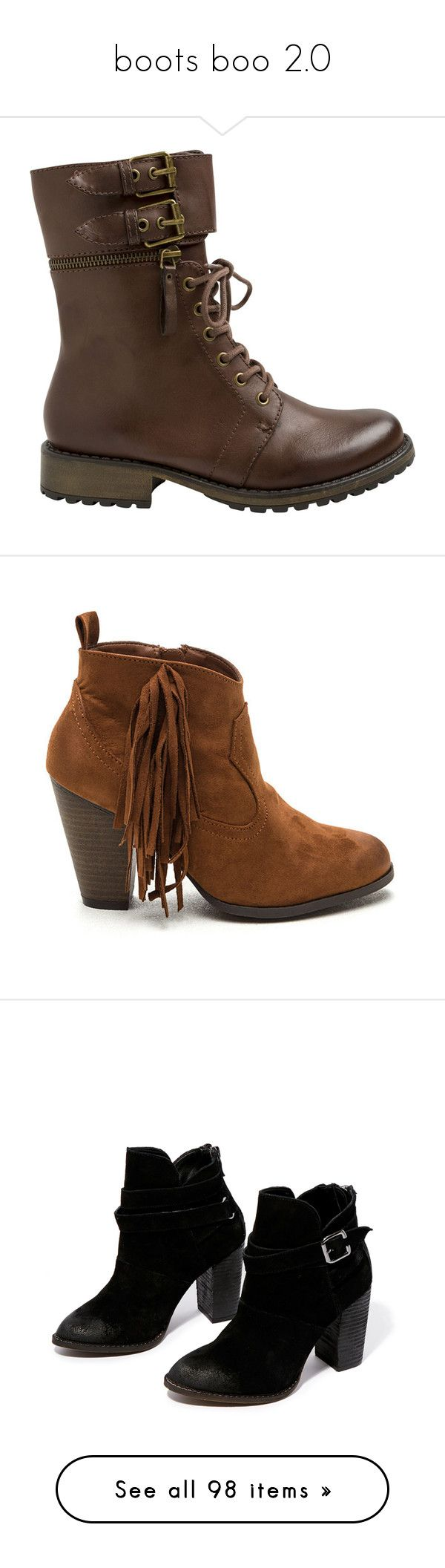 """""""boots boo 2.0"""" by lilyflower723 ❤ liked on Polyvore featuring shoes, boots, ankle booties, ankle boots, brown, laced up boots, ankle combat boots, brown booties, brown lace up booties and lace-up bootie"""