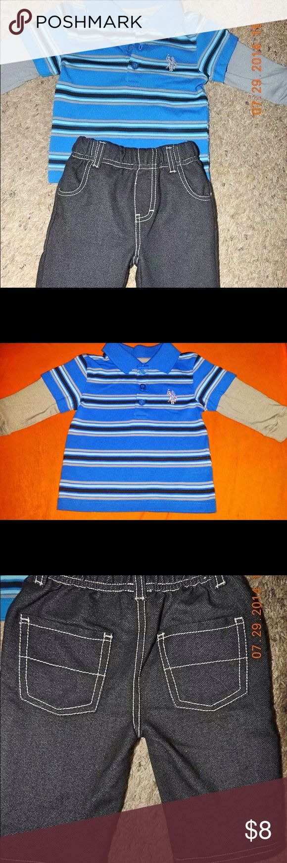 US Polo Association Baby Outfit NWOT Polo outfit with a collared long sleeved t- shirt with 3 buttons and a pair of black matching pants. This outfit has never been worn and has no defects. U.S. Polo Assn. Matching Sets