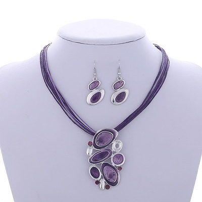 Parures  Bijoux Violet  originale Corde Femme Boucles D'oreilles  Collier