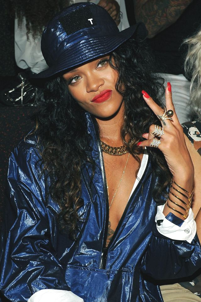 Rihanna in Metallic Blue Bucket Hat + Jacket