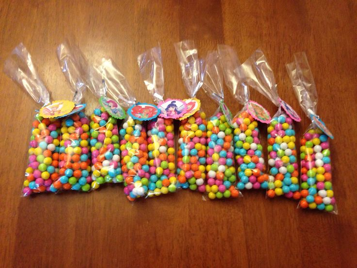 Winx Club birthday party candy treat bags.