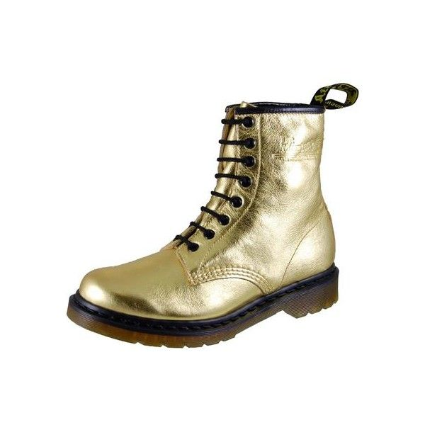 Yellow 1460s, Gold Womens Dr Marten, Gold Womens Doc Martens, Gold Dr... ❤ liked on Polyvore
