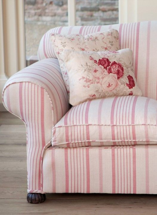 This pretty pink herringbone ticking works particularly well as blinds, valences and upholstery when mixed with Roses or Sprig amongst others. #traditional #home #sofa