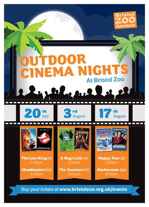 Bristol Zoo's 2013 outdoor cinema events. Booked for lion king!