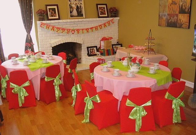strawberry shortcake theme birthday party set up table decoration ideas centerpieces