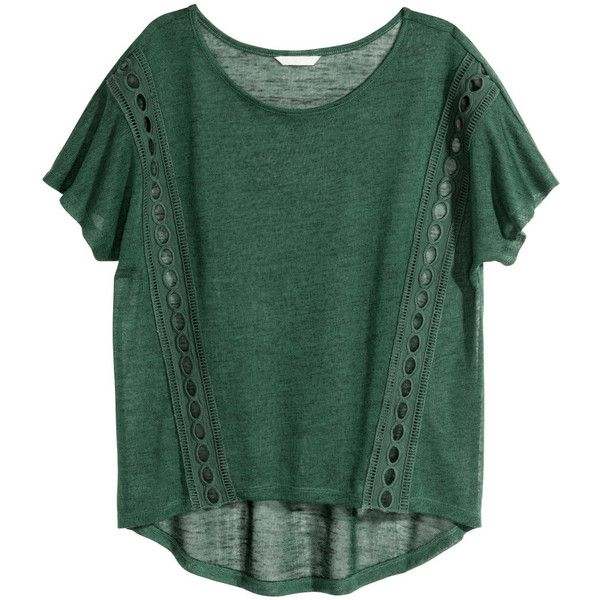 H&M Top with lace details (185 MXN) ❤ liked on Polyvore featuring tops, shirts, dark green, short sleeve tops, dark green shirt, dark green top, h&m shirts and short-sleeve shirt