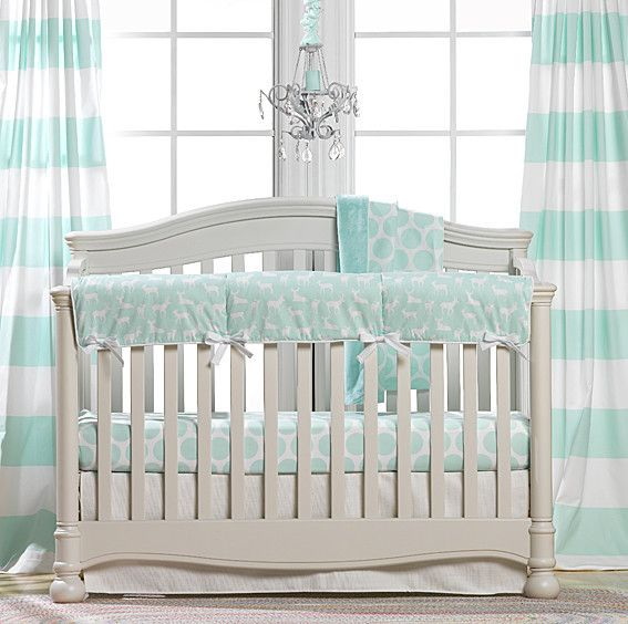 mint woodland crib bedding bumperless