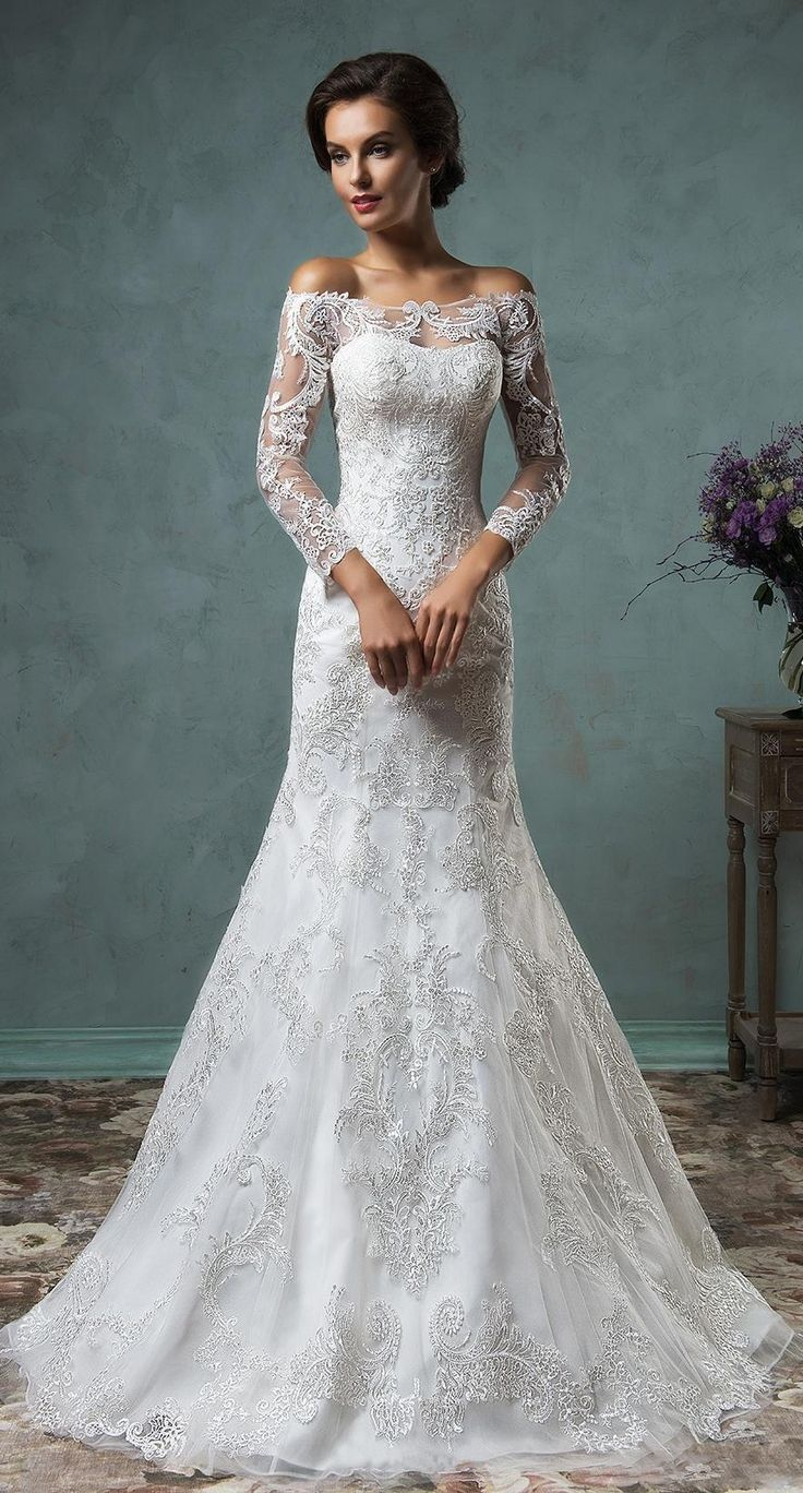 US$144.59 -Beautiful A-Line Off-The-Shoulder Lace Sheath Wedding Dress with Sleeves. https://www.doriswedding.com/a-line-mini-off-the-shoulder-long-sleeve-bell-beading-appliques-button-lace-sequins-dress-p713576.html.  Free custom made service of any Winter Wedding Dress design & Free Shipping! Browse the complete selection of unique design wedding dresses, each featuring the latest design with careful attention to detail and amazing quality, fit to finish. #DorisWedding.com