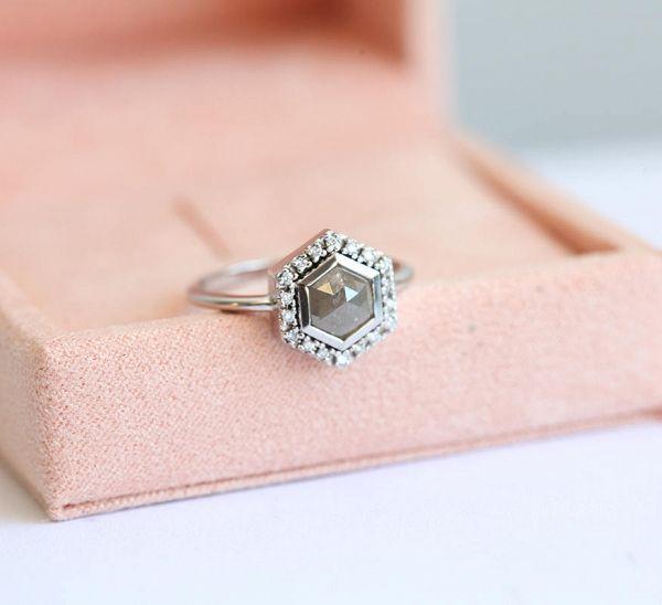 Gray diamond engagement ring  #wedding #weddings #weddinginspiration #engaged #aislesociety #engagementring
