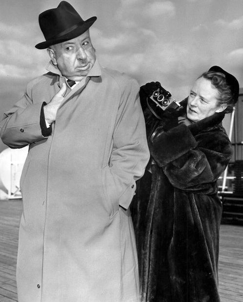 Alfred Hitchcock and Alma Reville return to the United States on the ship Liberté. January, 1955