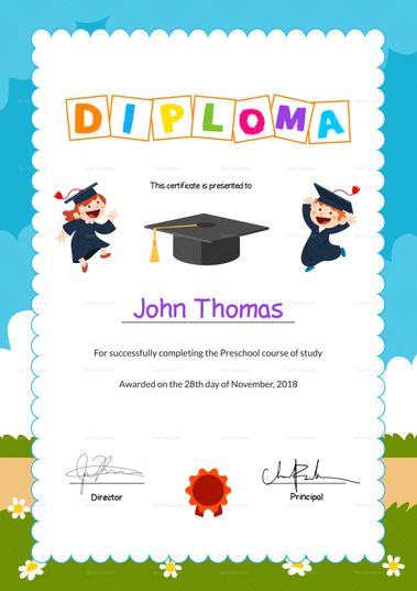 Preschool Diploma Graduation Certificate Template  $12  Formats Included : MS Word, Photoshop  File Size : 8.26x11.69 Inchs #Certificates @Certificatedesigns #educationcertificates
