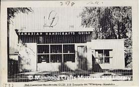 "Postcard-photograph of the exterior of the Canadian Handicrafts Guild Shop, 183 Kennedy Street, Winnipeg, Manitoba. Note on back of photograph dates it to 1951, and instructs that it is the Canadian Handicraft Guild - MB Branch's ""Original"" Shop."