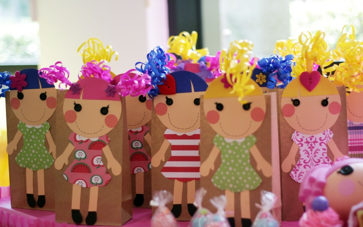Craft paper bags made with card-stock paper, buttons and ribbons! Cut Magical! Cut Cute! Lalaloopsy inspired.
