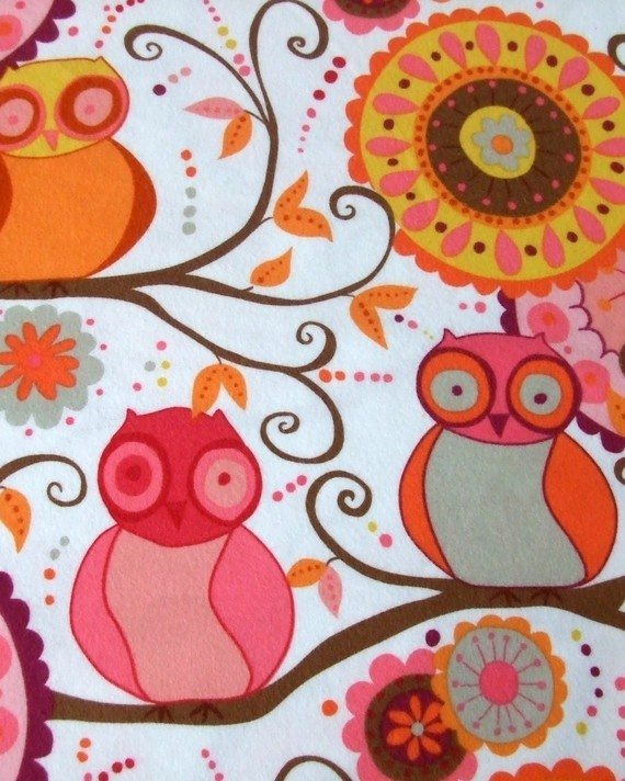 Flannel Valori Wells Della Owl Friends in Blossom by humbleboy, $6.50