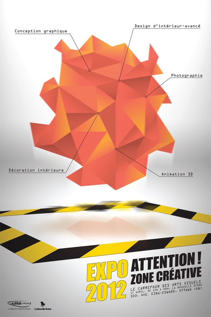 Poster design using 3d objects - The Use Of Shapes And Toning Shading Of Colours Makes Objects Look Almost 3d Which