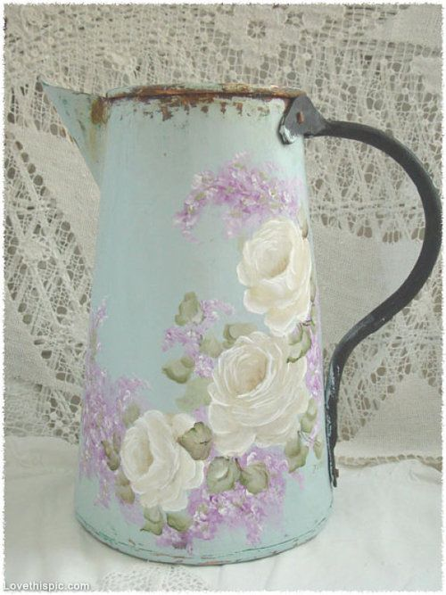 Vintage Coffee Pot with Tole Painting vintage art paint antique tole painting by hand