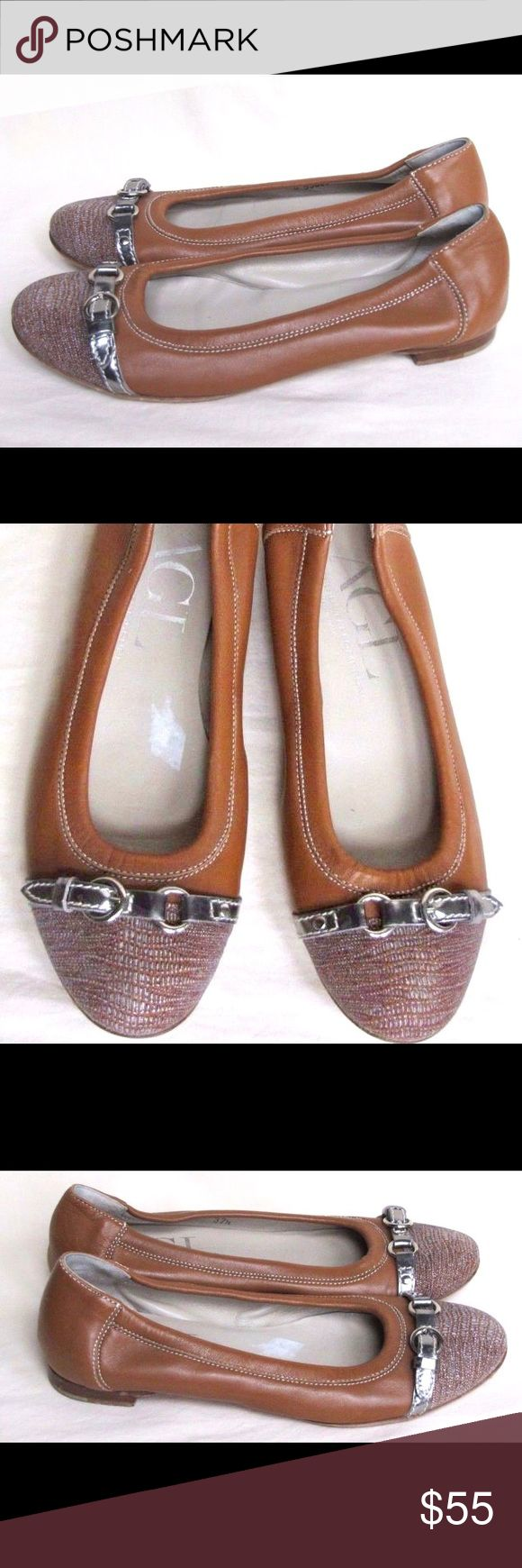 AGL Brown Camel Captoe Leather Flats Women's Attilio Giusti Leombruni AGL Brown/Camel Leather Ballet Flats. Size 37.5EU/7.5US.  Fabric cap toe with decorative buckle. Model #558034. Overall, good pre-owned condition. Soles have some scuffing and slight wear on the heels. Feel free to ask questions. Agl Shoes Flats & Loafers