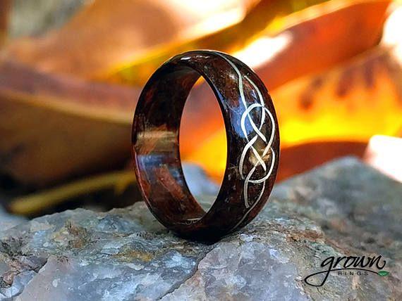 Handmade Custom Celtic Wood Ring Inlay Wedding Ring White