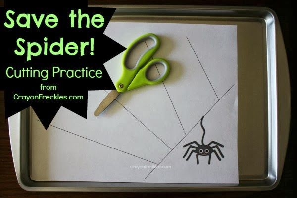 Save the Spider {preschool cutting practice} from CrayonFreckles.com #kbn