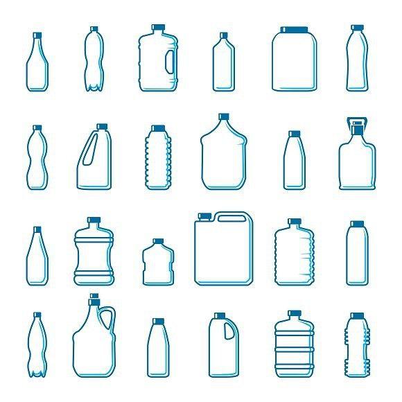 Plastic Bottles In Outline Style Bottle Drawing Bottle Design Packaging Plastic Bottle Design