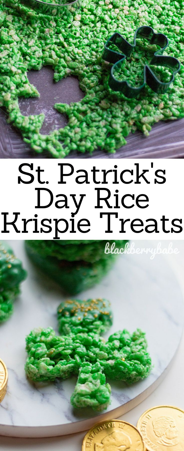 These St. Patrick's Day Rice Krispie Treats are deceptively easy to make! Use a shamrock cookie cutter to make these cute treats.