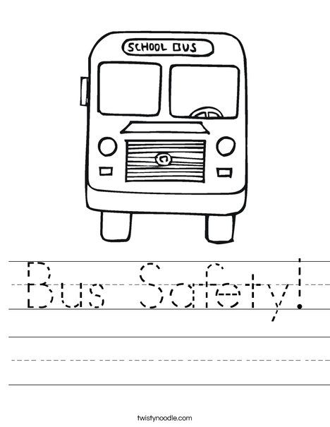 Bus Safety Worksheet - Twisty Noodle