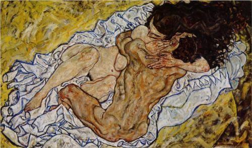 """Egon Schiele, """"The Embrace"""" (1917). Veja também: http://semioticas1.blogspot.com.br/2013/06/arte-entre-guerras.html"""