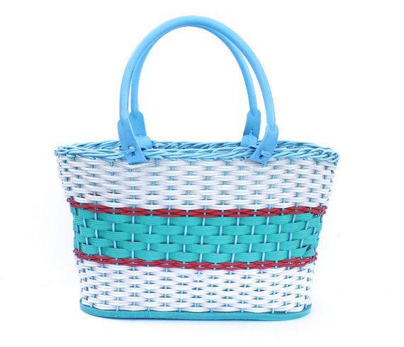 Blue basket vintage plastic basket  shopping bag by sovietvintage, $39.00