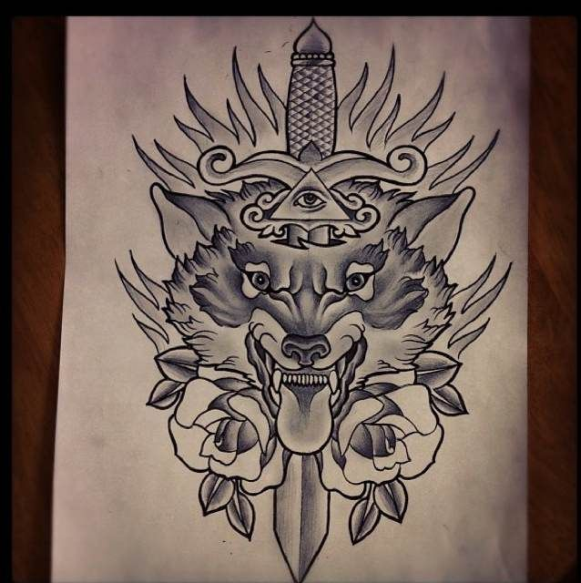 Grey Ink Dagger And Wolf Tattoo Design