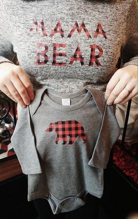 Mama Bear Buffalo Plaid Hoodie with matching baby bear onesie! The perfect winter baby announcement outfit!