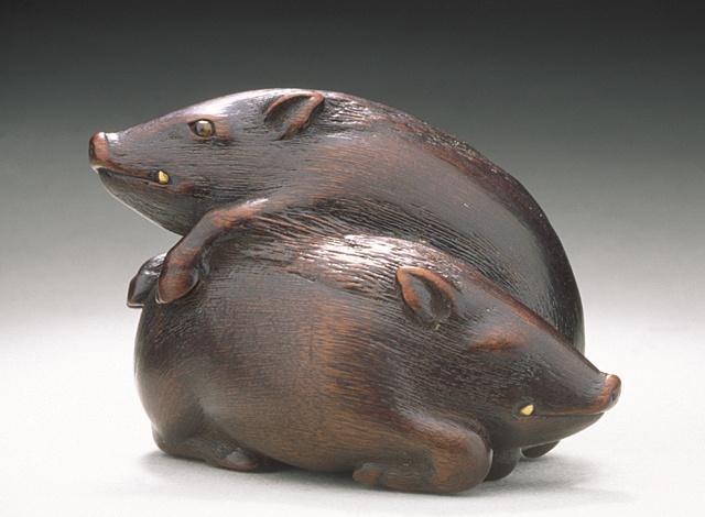 Wild boar pair netsuke | 19th century