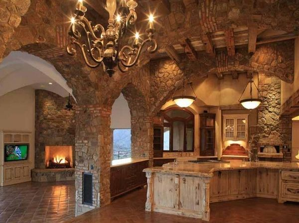 Dream kitchen.Cabin, Ideas, Dreams Home, Dreams Kitchens, Barns Kitchens, Stones Wall, Arches, Dreams House, Castles
