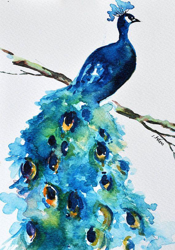 ORIGINAL pintura al acuarela, pavo real, verde azul turquesa, azul oscuro 6 x 8 pulgadas
