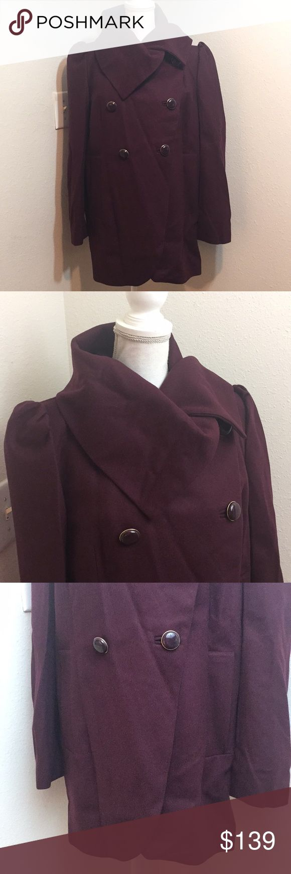 """French Connection Plum Tulip Coat Gorgeous plum color tulip wrap coat. 22"""" bust and 32"""" length. 70% wool, 20% nylon and 10% cashmere. Hard to find coat!! French Connection Jackets & Coats Trench Coats"""