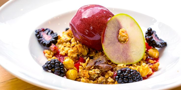 Anna Hansen re-imagines an apple and blackberry crumble recipe in this stunning dessert.
