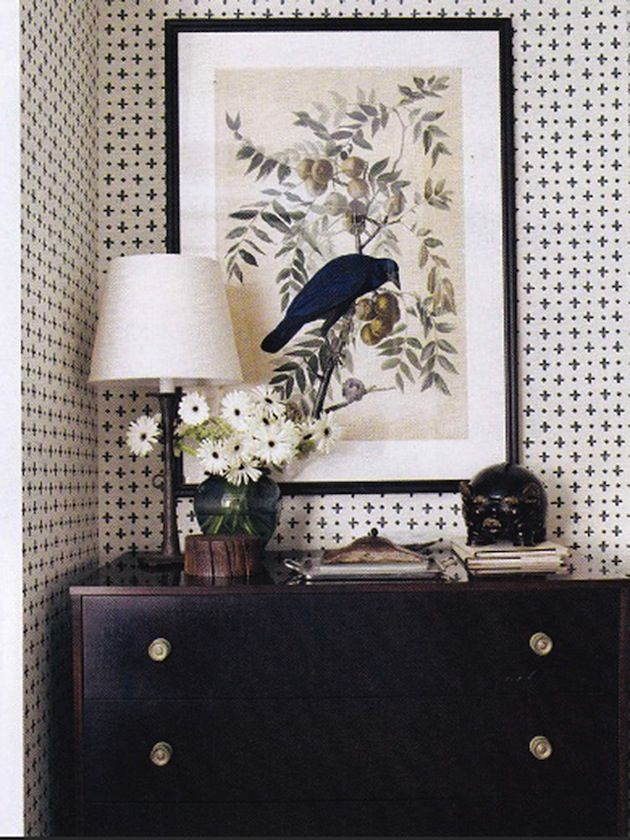 Dresser with bird and wallpaper on the Interior Collective