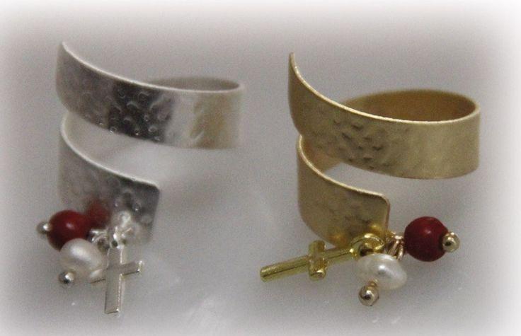 Δαχτυλίδι διπλό με πέρλα,κοράλι,σταυρό