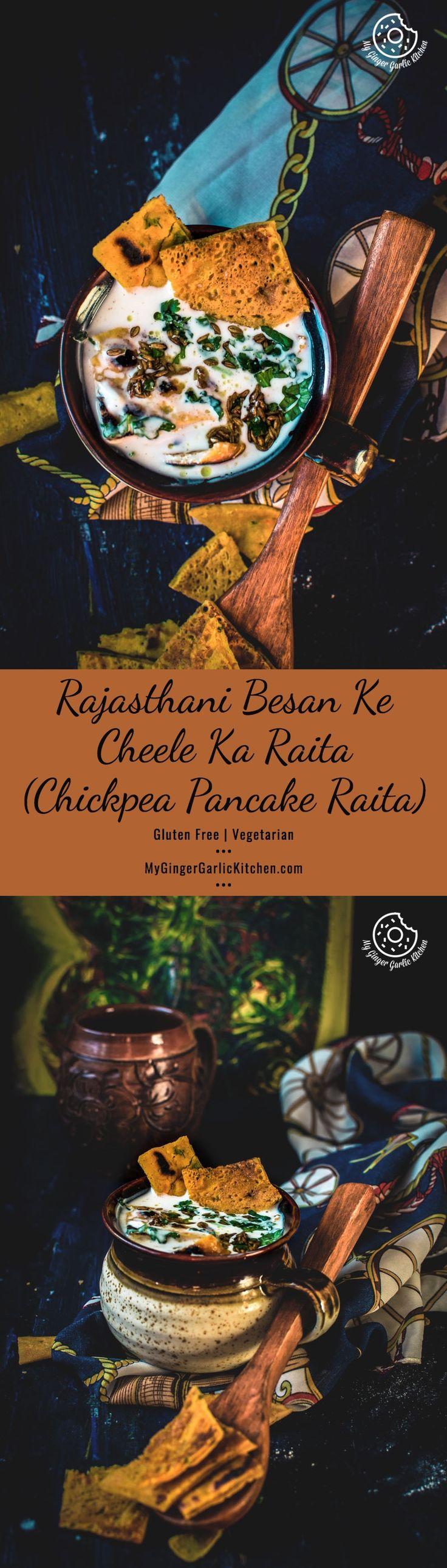 Rajasthani Besan Ke Cheele Ka Raita | Chickpea Pancake Raita. In this raita, chickpea flour pancakes are dunked into chilled spiced yogurt base and later tempered with cumin seeds and asafetida. From: mygingergarlickitchen.com #Glutenfree #Vegetarian #Raita #Besan #Indiancuisine #Indianrecipes