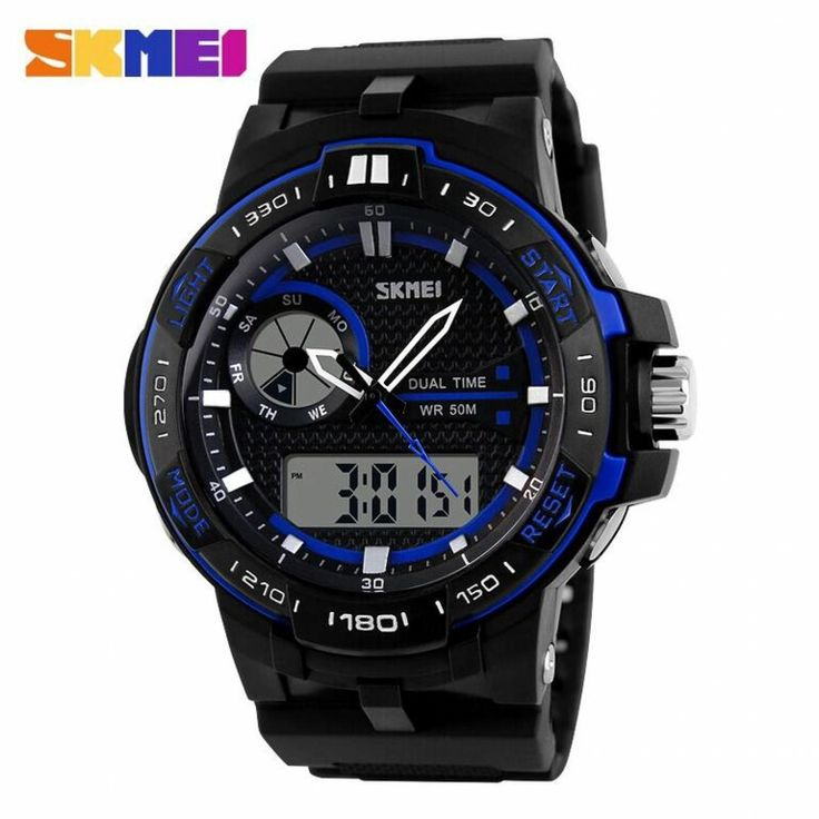 Jam Tangan Pria SKMEI Dual Time Casio Men Sport LED Original AD1070 Biru