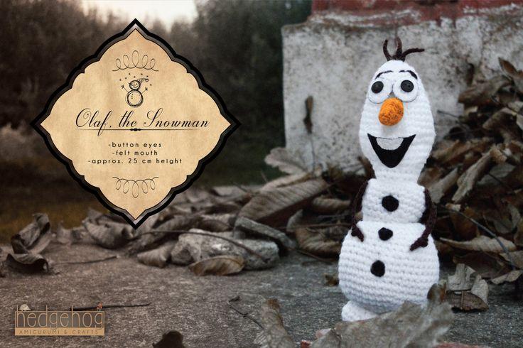 "Olaf the Snowman amigurumi crochet toy, great for birthday gift or baby shower. Created by ""Hedgehog - Amigurumi & Crafts""."