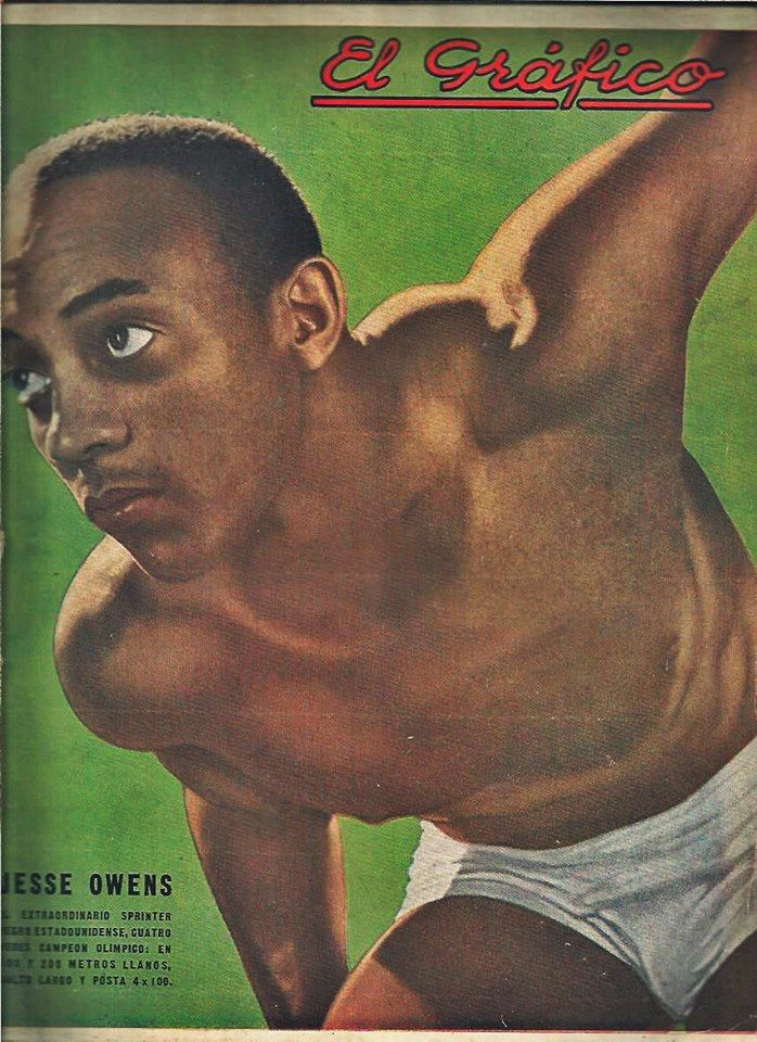 """Legend of the track and field, four times Olympic champion of Berlin and multiple world record holder, Jesse Owens, on the cover of """"El Grafico"""" magazine of 22nd August 1936"""