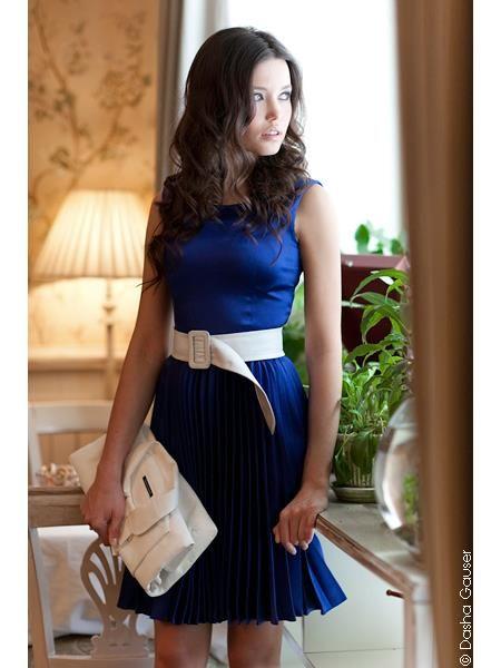 Синее шелковое платье жакет
