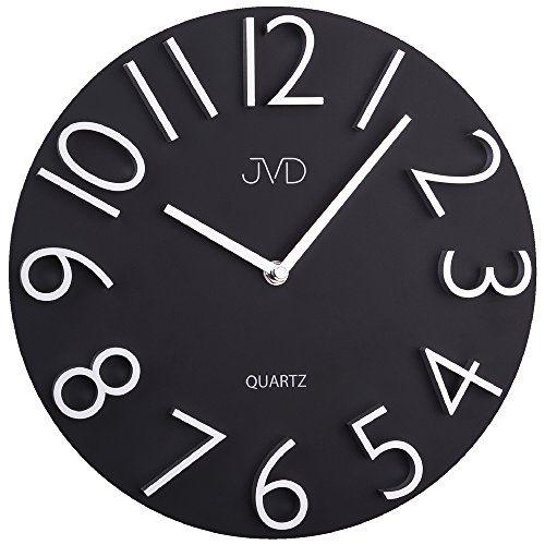 JVD HB221 Wanduhr Quarz analog schwarz rund modern JVD   www