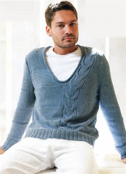 Вязание мужского свитера v образное