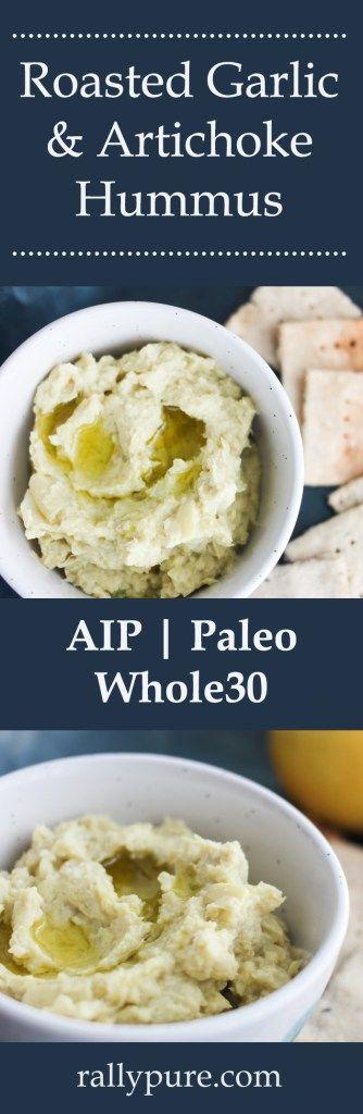 Roasted garlic and artichoke hummus recipe - AIP, Paleo, Vegan, Whole30, gluten free, dairy free, legume free, and nightshade free. [anti-inflammatory and low allergen recipes.]